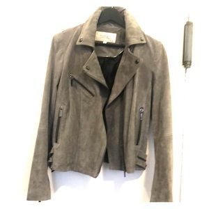 Grey Suede 3 pocket Biker Jacket